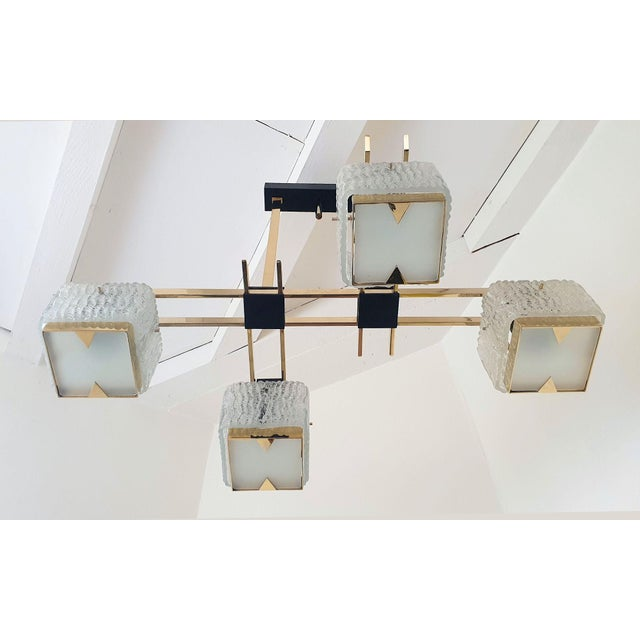 Italian Geometric Mid Century Modern Chandelier by Maison Arlus, Circa 1950s For Sale - Image 3 of 9