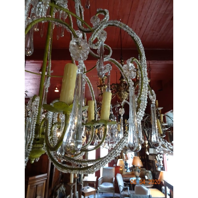 French Beaded Crystal Chandelier For Sale In New Orleans - Image 6 of 13