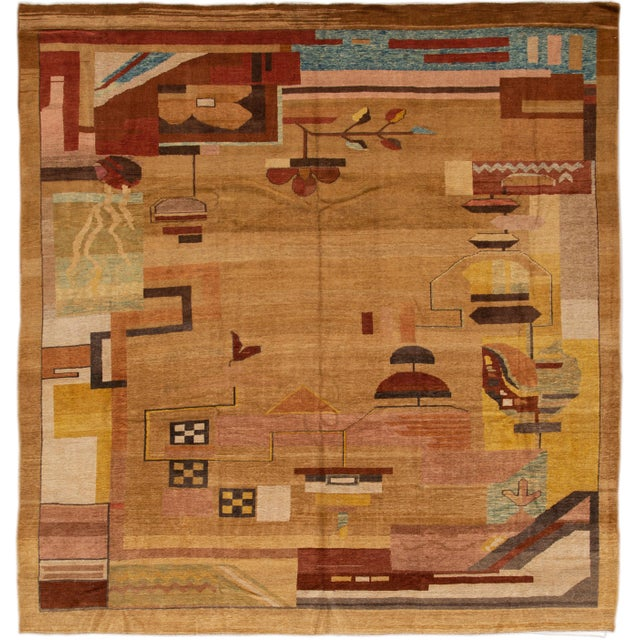 Vintage Art Deco Style Square Wool Rug For Sale - Image 13 of 13