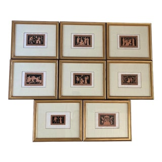 Early 19th Century Hand-Colored Neoclassic Engravings After Moses London, Framed - Set of 8 For Sale