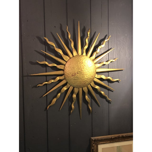 Boho Chic 1990s Giltwood Sunburst Wall Sculpture For Sale - Image 3 of 3