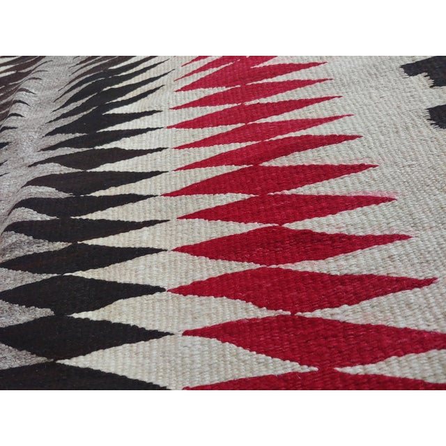 Textile Native American Vintage Navajo Rug W/Red Brown & Beige Design For Sale - Image 7 of 9