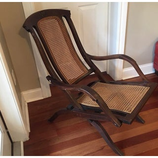 1900s Antique Folding Walnut and Cane Steamer Deck Chair Preview