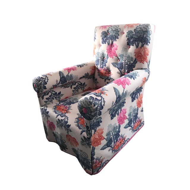 "An upholstered armchair purchased at Doyle Auctions newly reupholstered in Jon Stefanidis' ""Emma"" fabric. Skirted, all..."