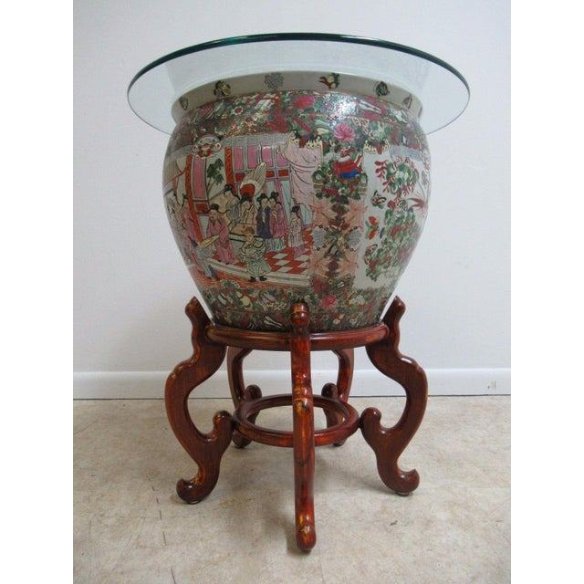 Vintage Asian Pottery Fish Bowl Stand Lamp End Table Pedestal For Sale - Image 11 of 11