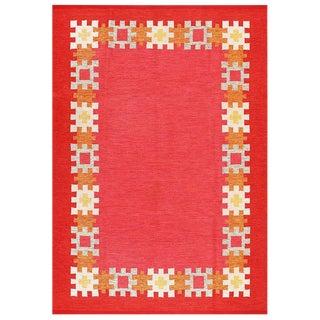 Vintage Swedish Red Wool Kilim Rug by Ingegerd Silow - 6′4″ × 9′ For Sale