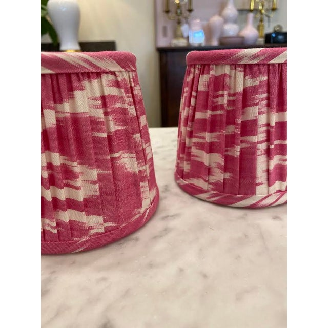 Custom Lamp Sconce Shades in Pink Ikat Fabric - Pair For Sale In Little Rock - Image 6 of 9