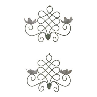 Green and Grey Tole Wall Sconces - a Pair For Sale