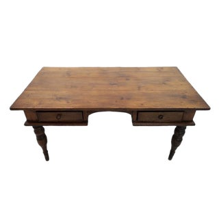 Antique French Oak 2 Drawer Country Writing Desk Foyer Side Table For Sale
