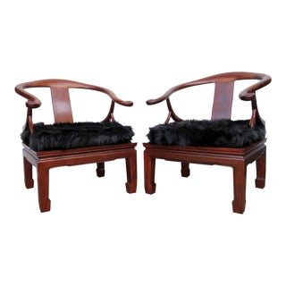 Rosewood & Faux Fur Chairs- a Pair For Sale