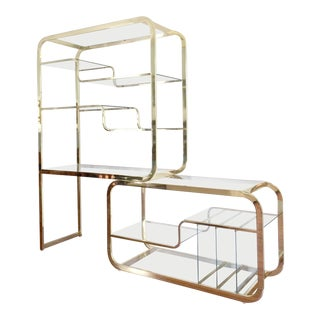 1960's Milo Baughman Extendable Brass and Glass Shelving Unit Eétagère - 2 Piece For Sale