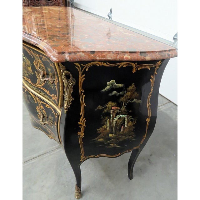 Mid 20th Century Louis XV Style Chinoiserie Marble Top Bombe Commode For Sale - Image 5 of 10