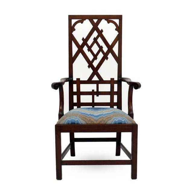 Wood High-back Diamond Fret Chair For Sale - Image 7 of 7