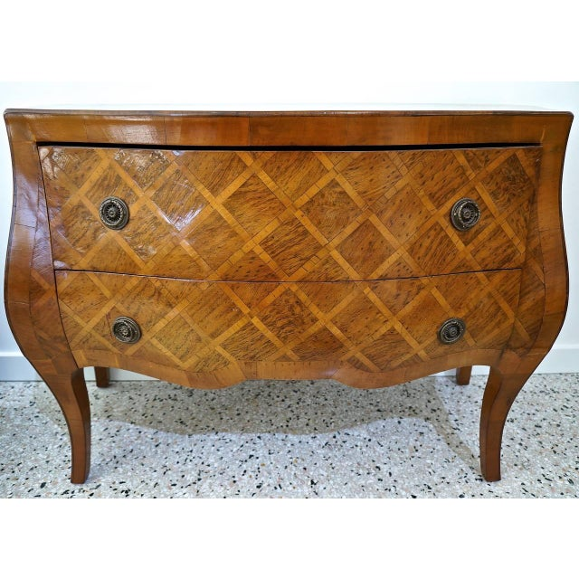 Louis XV Style Marquetry Bombe Commode: Italy, 1960s - Image 3 of 9