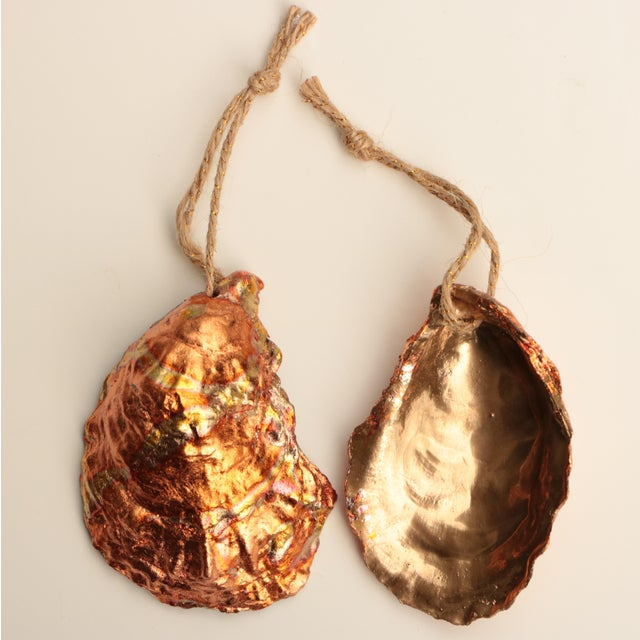 Gold Flame Gilded Oyster Shell Christmas Ornaments - Set of 6 For Sale - Image 8 of 9