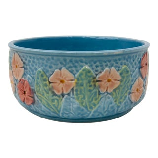 Vintage Blue Floral Ceramic Planter Dish For Sale