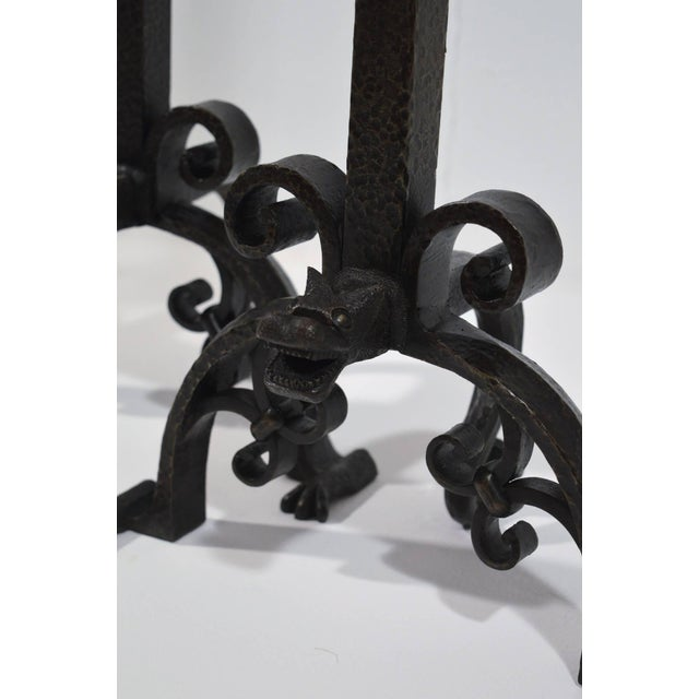 Black Pair of Large 1900s Iron Chenets or Andirons For Sale - Image 8 of 10