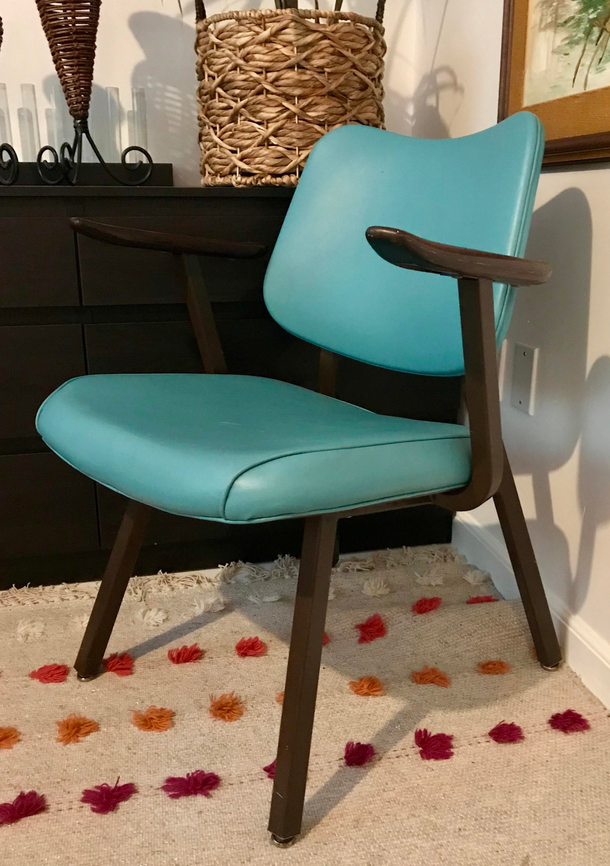 Nice Royal Metal Chairs With Vinyl Upholstery, Metal Frames, And Walnut  Armrests. Made In