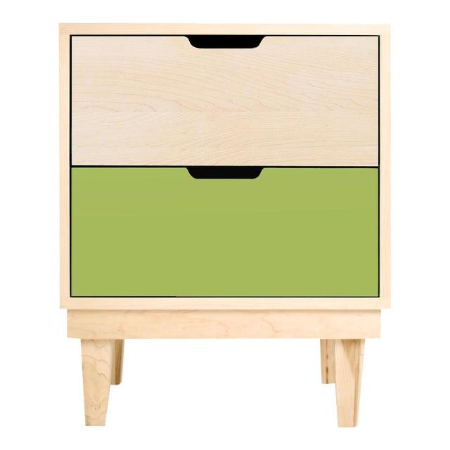 Nico & Yeye Kabano Modern Kids 2-Drawer Nightstand Solid Maple and Maple Veneers Green For Sale