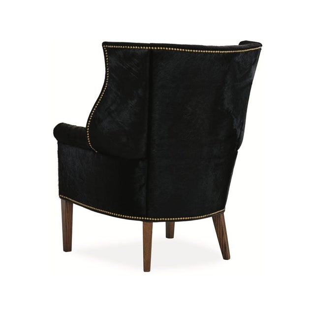French Serengeti Black Leather Hyde Chair For Sale - Image 3 of 11