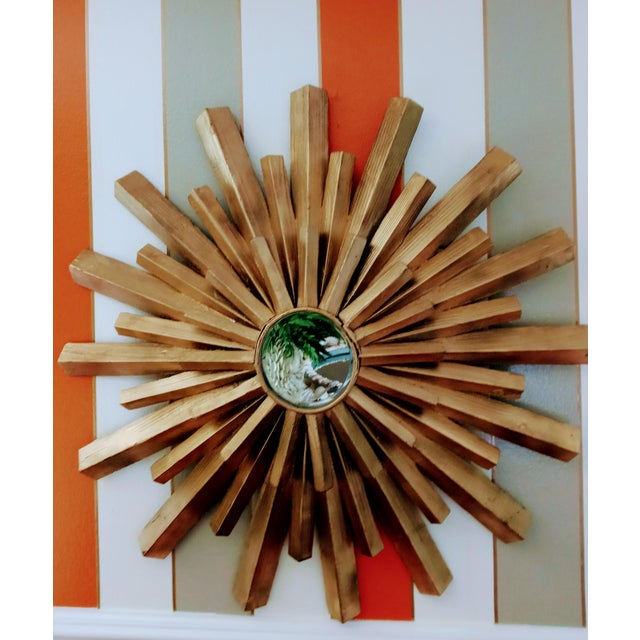 Mid-Century Modern Large Solid Wood Carved Painted Gold Starburst Wall Mirror For Sale - Image 3 of 7