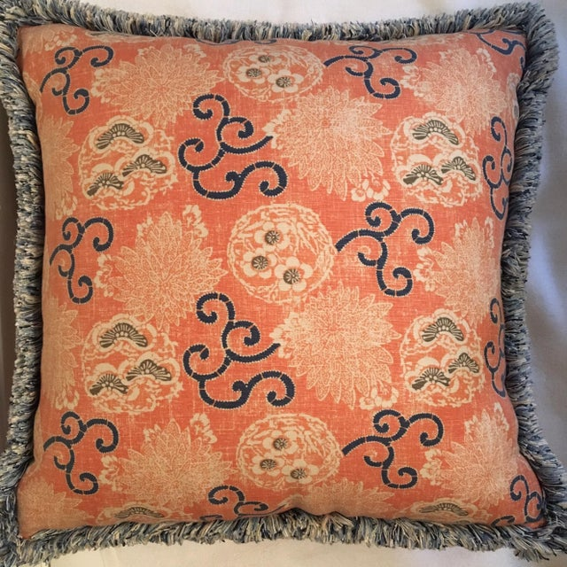 Quadrille Pillows with Samuel & Sons Trim - Pair - Image 3 of 8