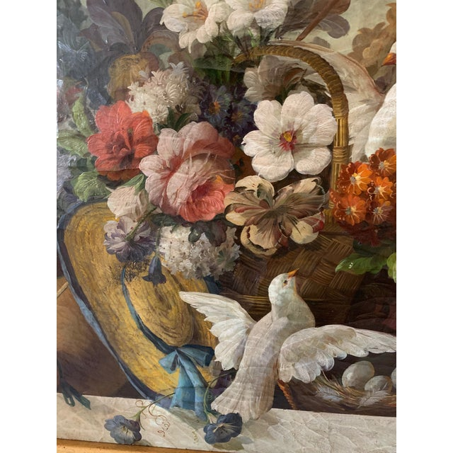 Canvas Still Life of Flower and Doves in Amazing Oak Frame For Sale - Image 7 of 13