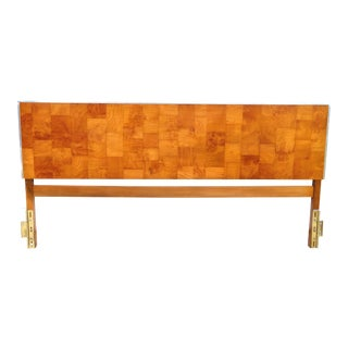 Mid Century Olive Burl Parquet King Size Bed Headboard For Sale
