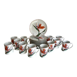 24 Pieces - 1980's Birds of Paradise Mug and Plate Set For Sale