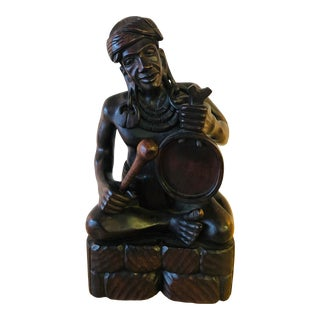 "Antique Ebony African Carving, ""The Drummer"" For Sale"