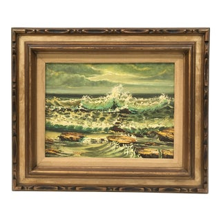 Vintage Oceanscape Oil Painting on Canvas