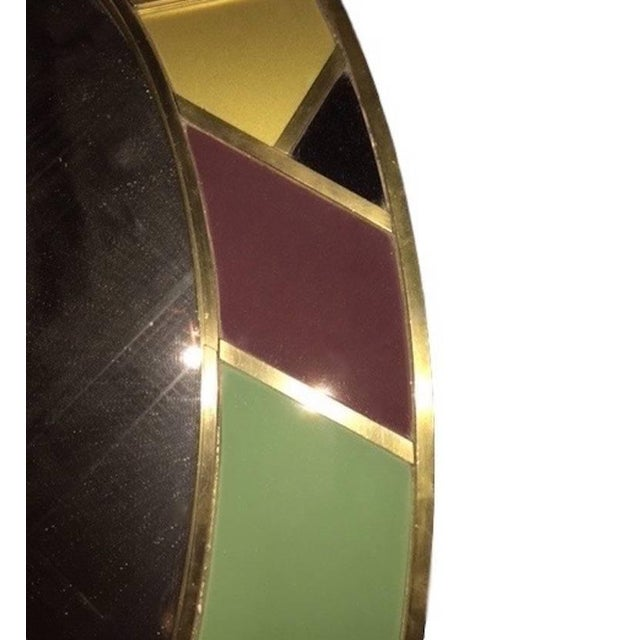 Gold 1970s Italian Modern Oval Mirror in Green Grey Blue Yellow Black White and Brass For Sale - Image 8 of 10