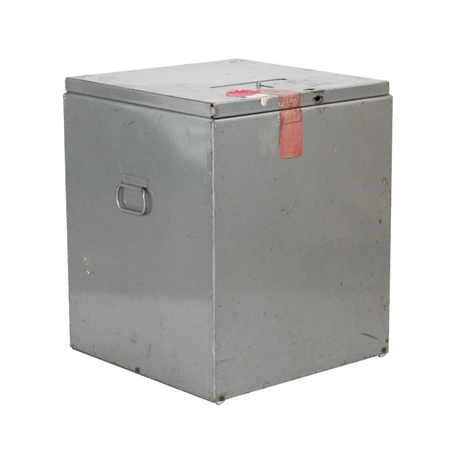 Authentic decommissioned ballot box from Kent County, Michigan. Painted steel construction- industrial grey finish....