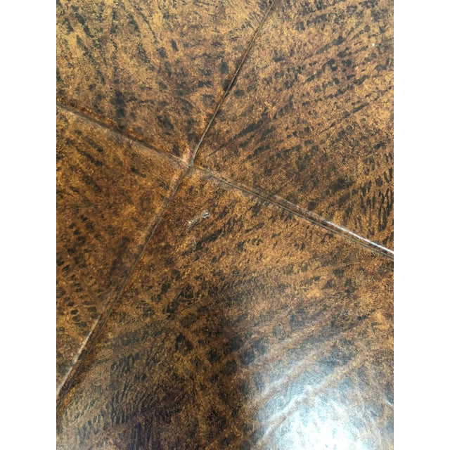 Wood and Leather Accent Table For Sale - Image 4 of 5