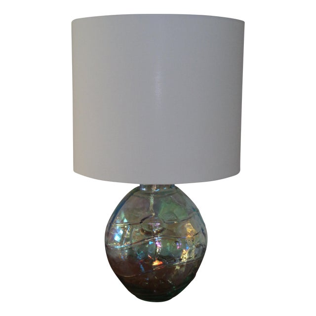 Art Glass Iridescent Table Lamp - Image 1 of 4