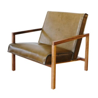 Vincent Hand Stitched Leather Lounge Chair For Sale