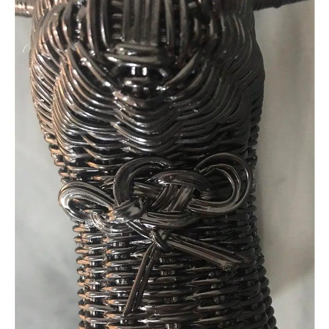 Boho Chic Vintage Snail Wicker/Rattan Basket Magazine Holder For Sale - Image 3 of 10