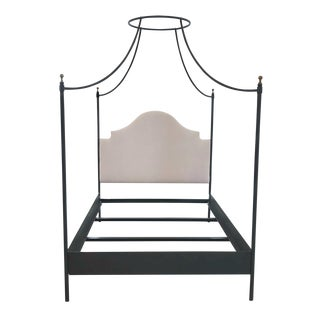 Julia Canopy Bed-French Canopy Bed With Upholstered Linen Headboard