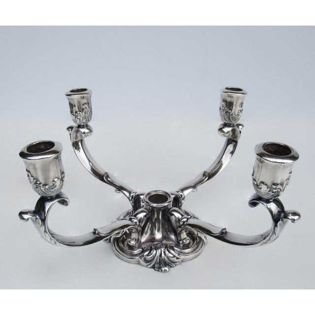 1950s C1960's-70's Vintage Georgian-Style Gorham Silverplate Candelabra, 5-Candle Holder Centerpiece For Sale - Image 5 of 13