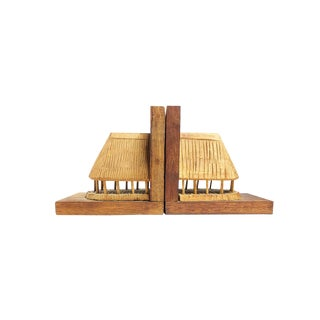 Vintage Mid Century Hand Carved Wooden Tiki Huts Bookends - a Pair For Sale