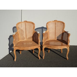 Pair of Vintage French Provincial Louis XVI Cane Accent Chairs Preview