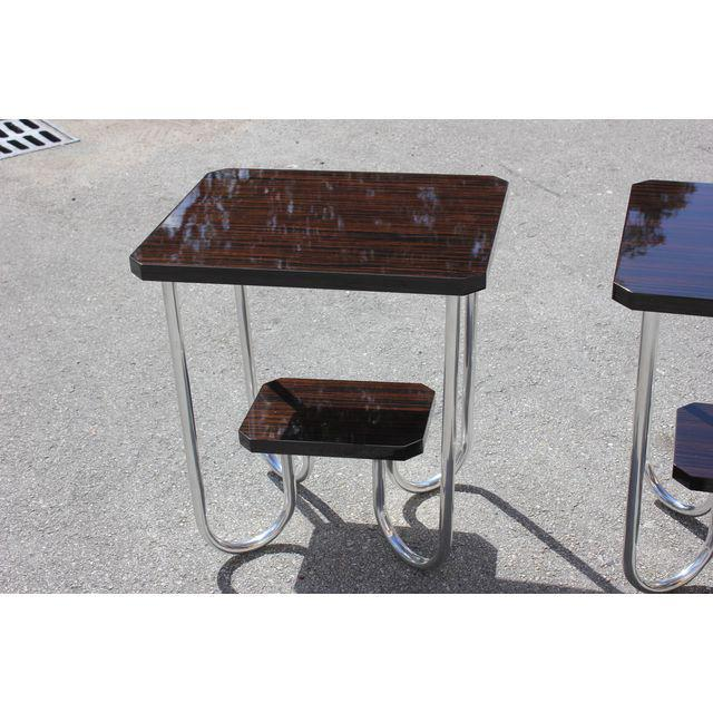 Brown 1940s French Modern Exotic Macassar Ebony End Tables - a Pair For Sale - Image 8 of 11