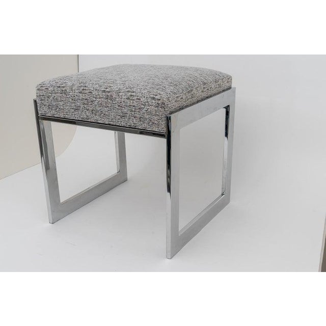 Metal Milo Baughman Mid-Century Flat-Bar Nickel Plated Benches - a Pair For Sale - Image 7 of 11