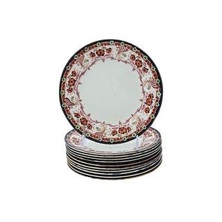 Antique English Floral Dessert Plates - S/12 For Sale