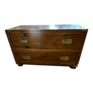1970's Campaign 2-Drawer Pine Chest For Sale