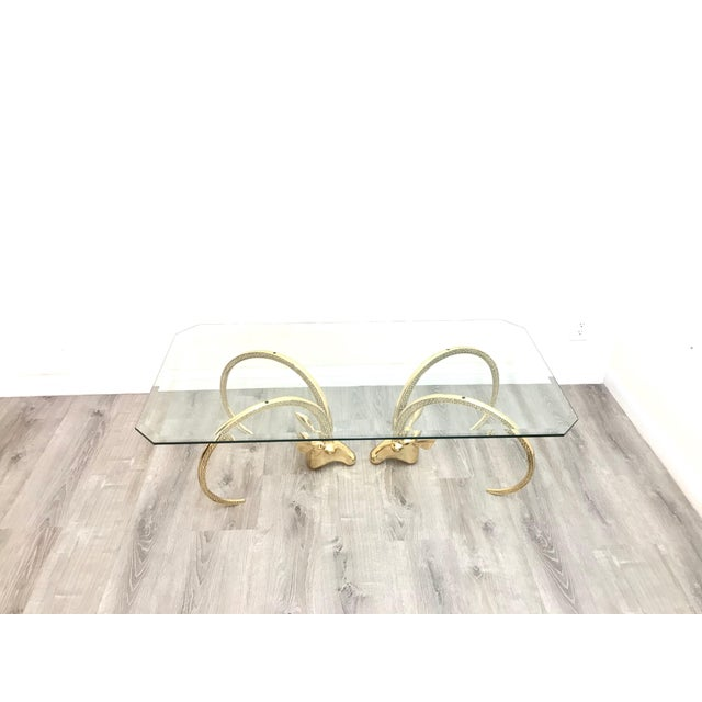 Brass Polished Brass Ibex Ram's Head Glass Top Coffee Table For Sale - Image 8 of 10