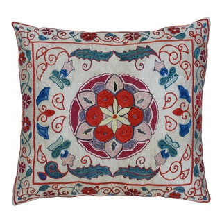 Floral Silk Pillow For Sale