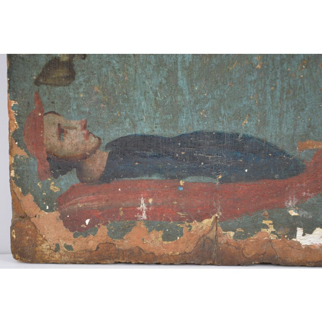 Blue 18th Century Spanish Colonial Folk Retablo of St. James the Moor-Slayer For Sale - Image 8 of 13