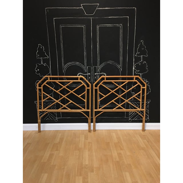 1970s Chippendale Rattan Bamboo Headboards - a Pair For Sale - Image 5 of 5