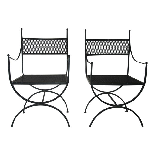 1960s Salterini Wrought Iron Curule Chairs-A Pair For Sale - Image 10 of 10